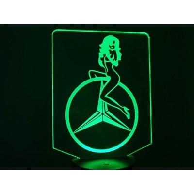 LAMPE 3D - LOGO MERCEDES +...
